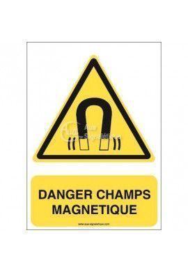 Danger, Champs magnétique W006-AI Aluminium 3mm 150x210 mm