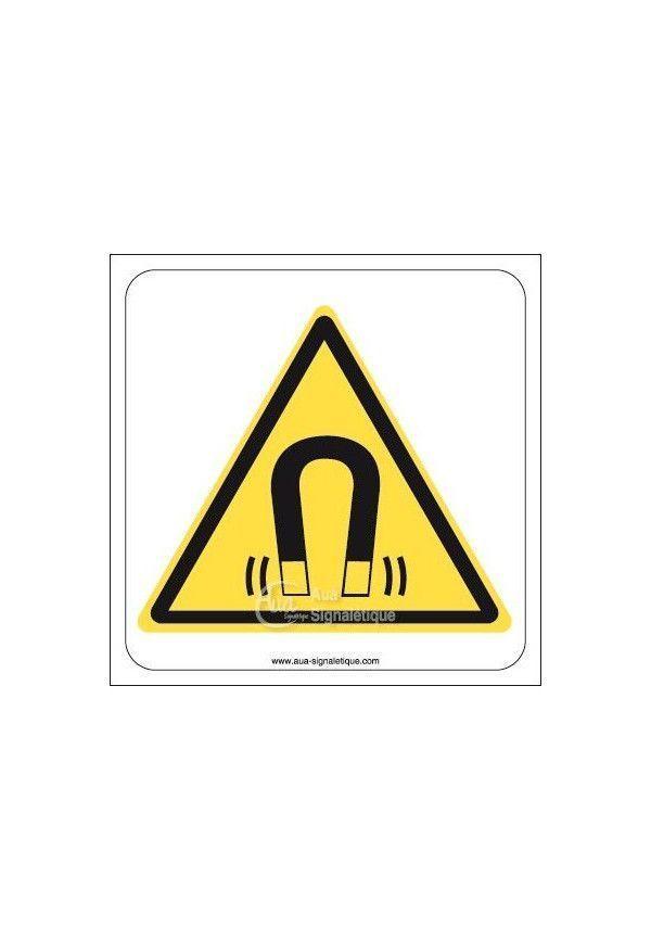 Danger, Champs magnétique W006 Aluminium 3mm 130x130 mm
