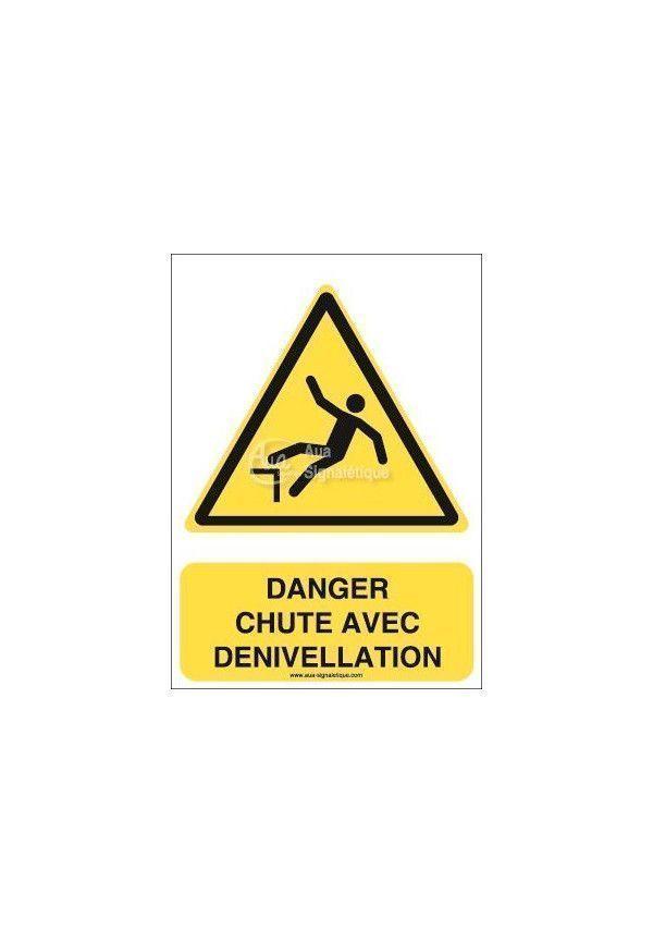 Danger, Chute avec dénivellation W008-AI Aluminium 3mm 150x210 mm