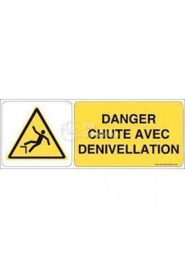 Danger, Chute avec dénivellation W008-B Aluminium 3mm 160x60 mm