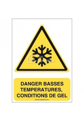Danger, Basses températures, condition de gel W010-AI Aluminium 3mm 150x210 mm