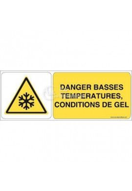 Danger, Basses températures, condition de gel W010-B Aluminium 3mm 160x60 mm