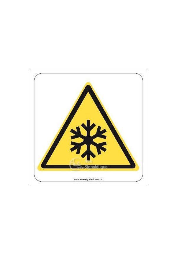 Danger, Basses températures, conditions de gel W010 Aluminium 3mm 130x130 mm