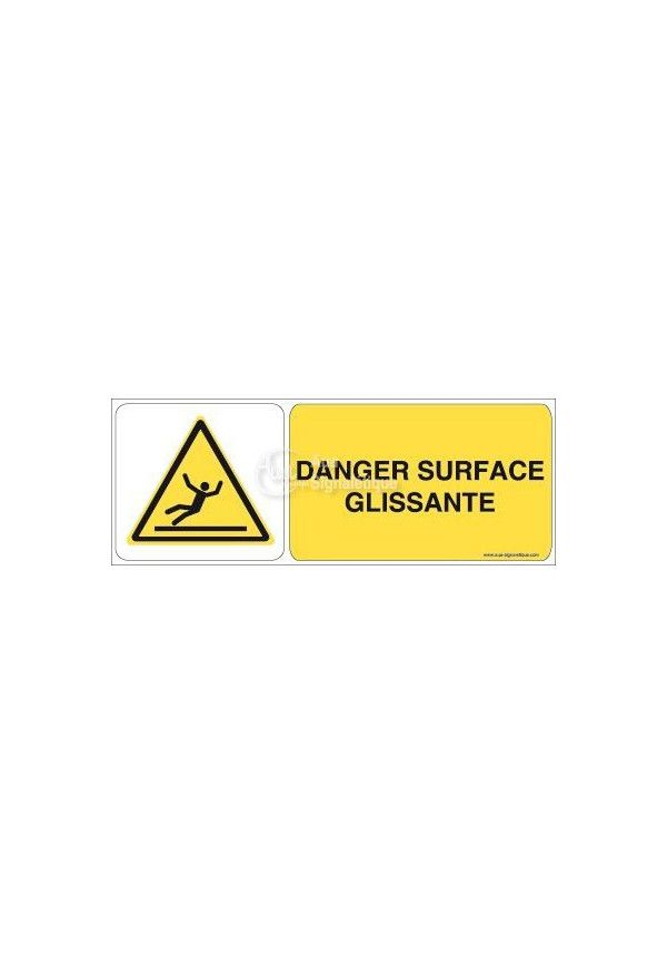 Danger, Surface glissante W011-B Aluminium 3mm 160x60 mm