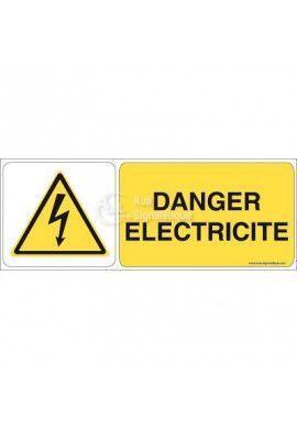 Danger, Electricité W012-B Aluminium 3mm 160x60 mm
