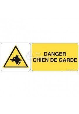 Danger, Chien de garde W013-B Aluminium 3mm 160x60 mm