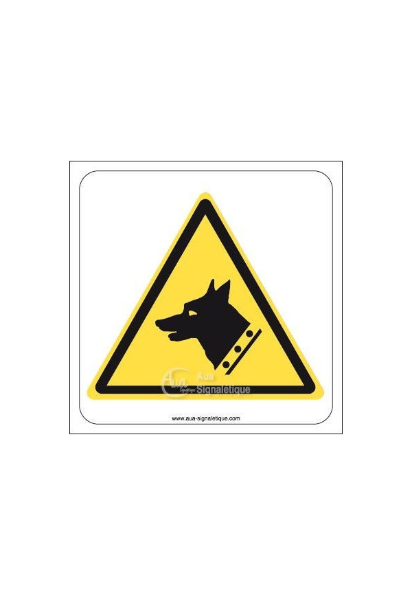 Danger, Chien de garde W013 Triangulaire Aluminium 3mm 130x130 mm