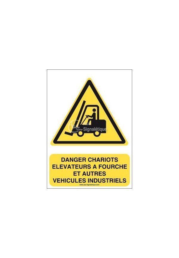 Danger Chariots élévateurs à fourche et autres véhicules industriels W014-AI Aluminium 3mm 150x210 mm