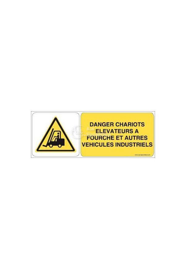 Danger, Chariots élévateurs à fourche et autres véhicules industriels W014-B Aluminium 3mm 160x60 mm