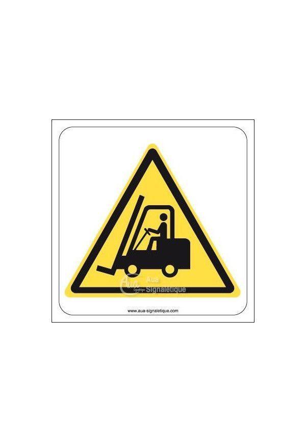 Danger, Chariots élévateurs à fourche et autres véhicules industriels W014 Aluminium 3mm 130x130 mm
