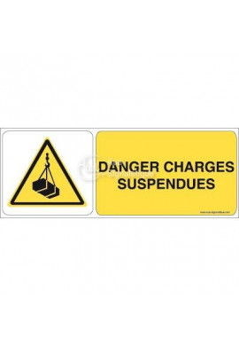 Danger, Charges suspendues W015-B Aluminium 3mm 160x60 mm
