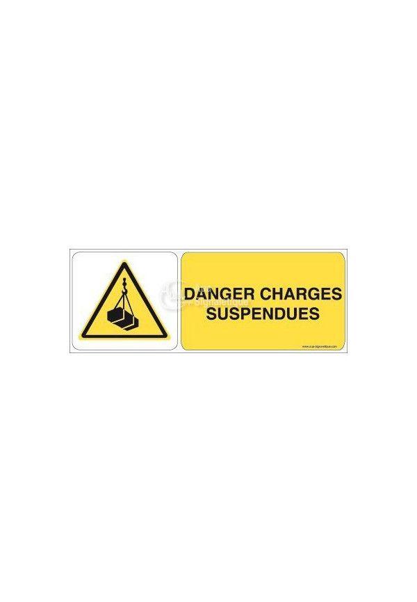 Danger, Charges suspendues W015-B Aluminium 3mm 160x60 mm