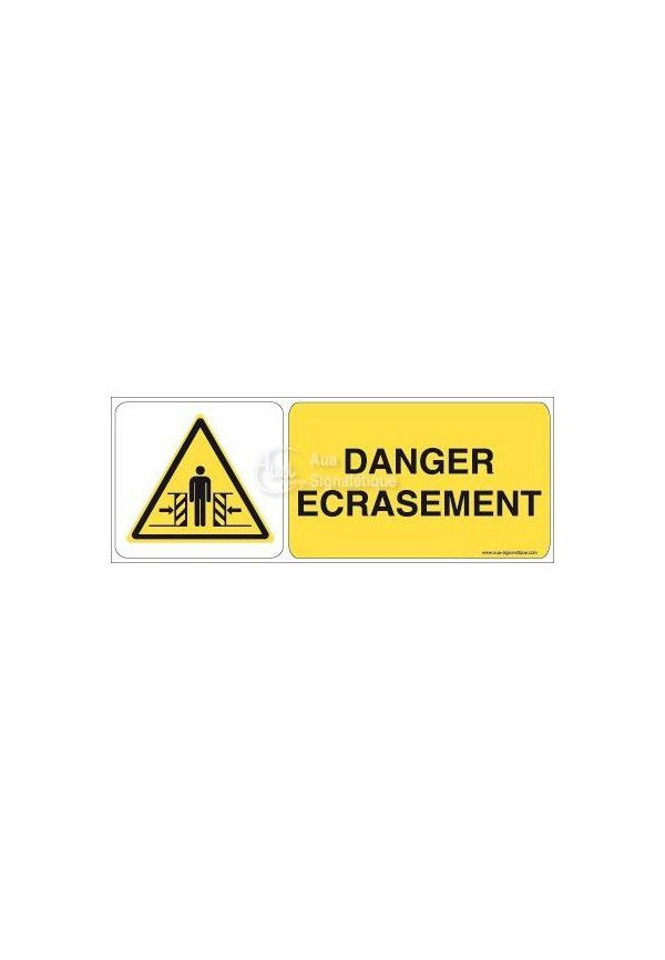 Danger, Ecrasement W019-B Aluminium 3mm 160x60 mm