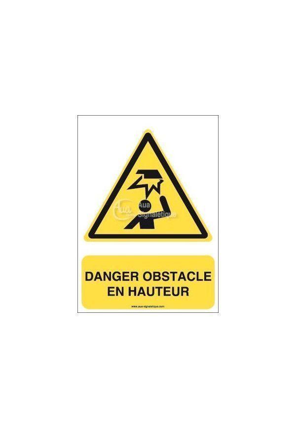 Danger, Obstacle en hauteur W020-AI Aluminium 3mm 150x210 mm