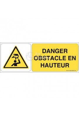 Danger, Obstacle en hauteur W020-B Aluminium 3mm 160x60 mm