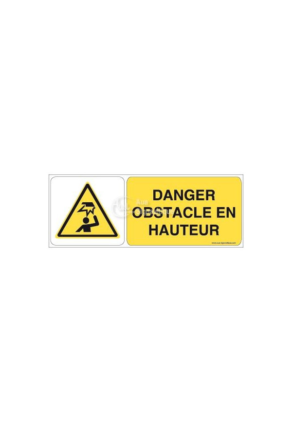 Danger, Obstacle en hauteur W020-B Aluminium 3mm 160x60 mm
