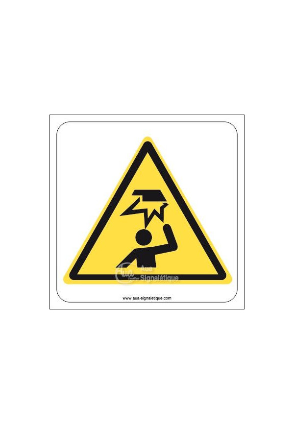 Danger, Obstacle en hauteur W020 Aluminium 3mm 130x130 mm