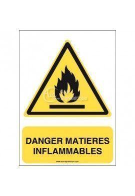 Danger, Matières inflammables W021-AI Aluminium 3mm 150x210 mm