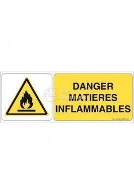 Danger, Matières inflammables W021-B Aluminium 3mm 160x60 mm