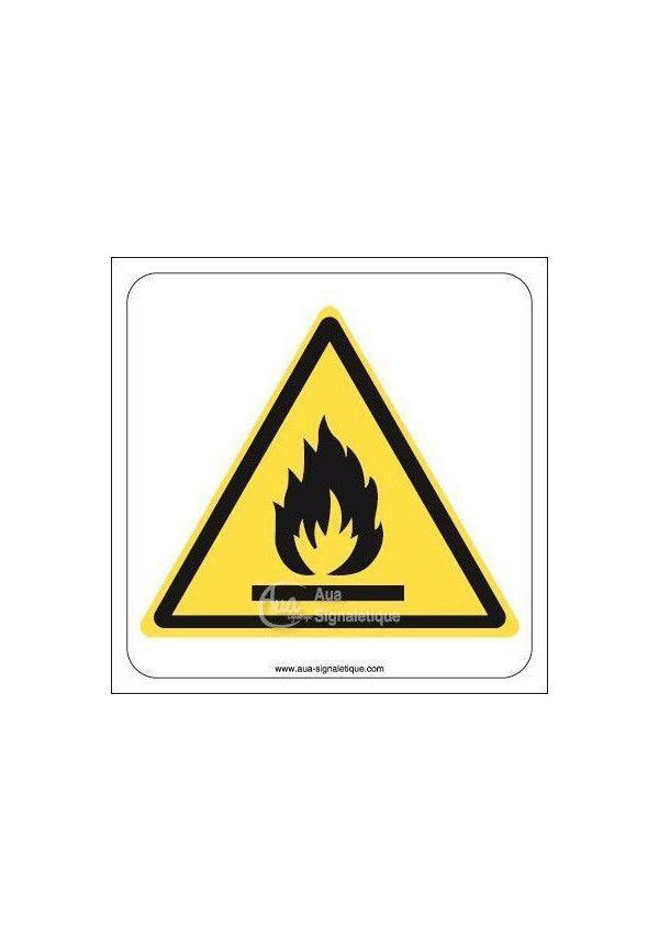 Danger, Matières inflammables W021 Aluminium 3mm 130x130 mm