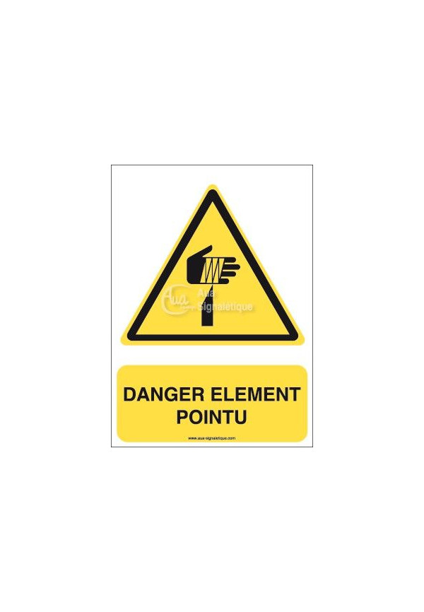 Danger, Elément pointu W022-AI Aluminium 3mm 150x210 mm