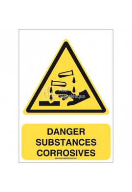Danger, Substances corrosives W023-AI Aluminium 3mm 150x210 mm