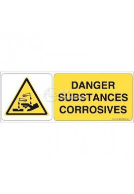 Danger, Substances corrosives W023-B Aluminium 3mm 160x60 mm