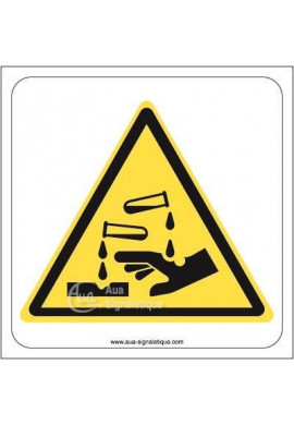 Danger, Substances corrosives W023 Aluminium 3mm 130x130 mm
