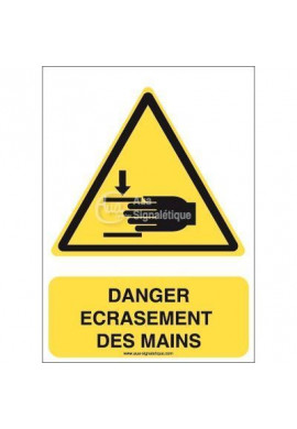Danger, Ecrasement des mains W024-AI Aluminium 3mm 150x210 mm