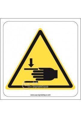 Danger, Ecrassement des mains W024 Aluminium 3mm 130x130 mm