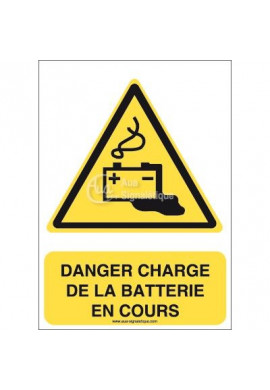 Danger, Charge de la batterie en cours W026-AI Aluminium 3mm 150x210 mm
