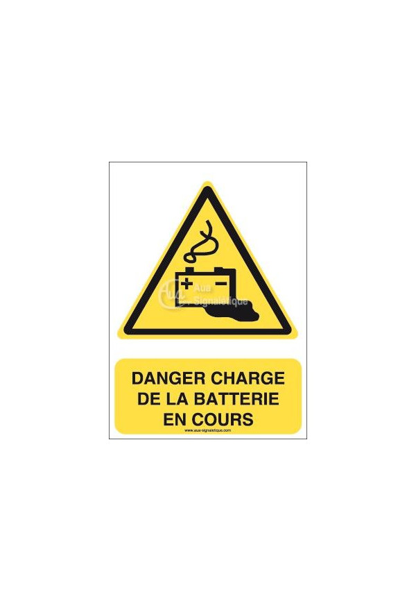Danger, Charge de la batterie en cours W026-AI Aluminium 3mm 150x210 mm