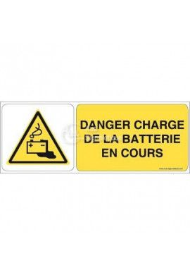 Danger, Charge de la batterie en cours W026-B Aluminium 3mm 160x60 mm