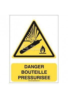 Danger, Bouteille pressurisée W029-AI Aluminium 3mm 150x210 mm
