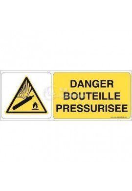Danger, Bouteille pressurisée W029-B Aluminium 3mm 160x60 mm
