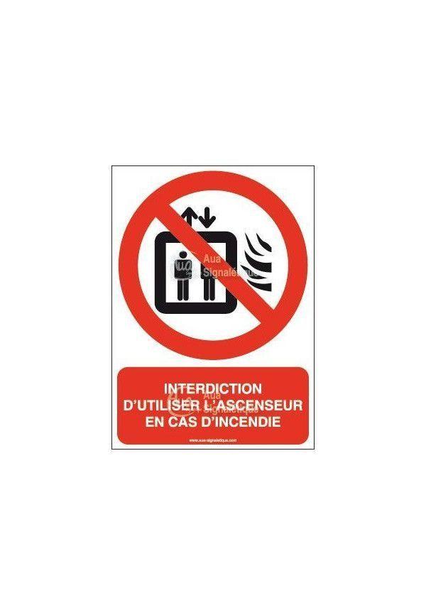 Panneau Interdiction d'utiliser l'ascenseur en cas d'incendie-AI