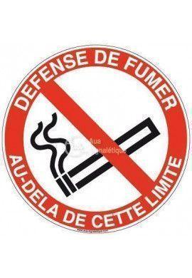 Panneau défense de fumer au-delà de cet limite-R Aluminium 3mm Ø 130 mm