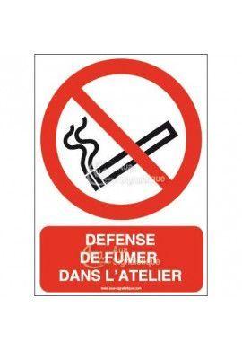 Panneau Défense de fumer dans l'atelier-AI