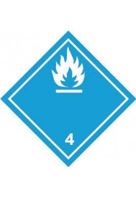 Etiquette N°4-3 Gaz inflammables au contact de l'eau-Blanc