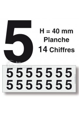 Planche 14 Chiffres prédécoupés -Hauteur 40mm
