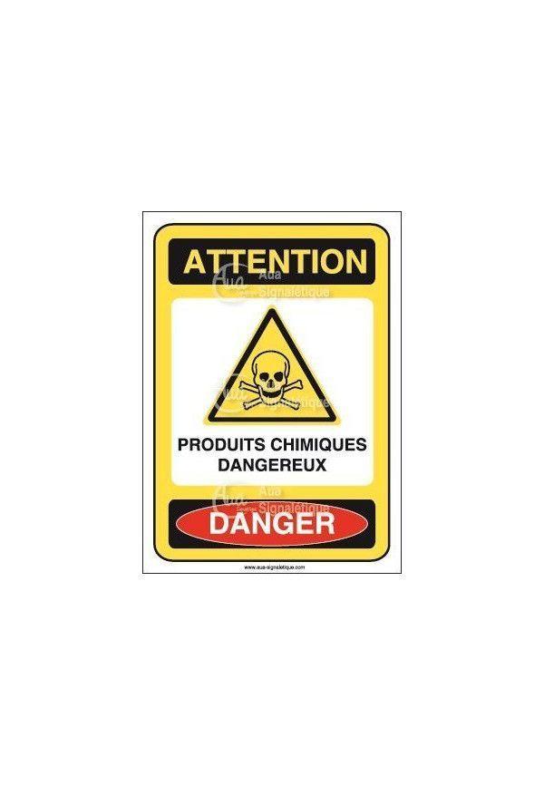 Panneau produits chimiques dangereux Vinyl adhésif 75x105 mm