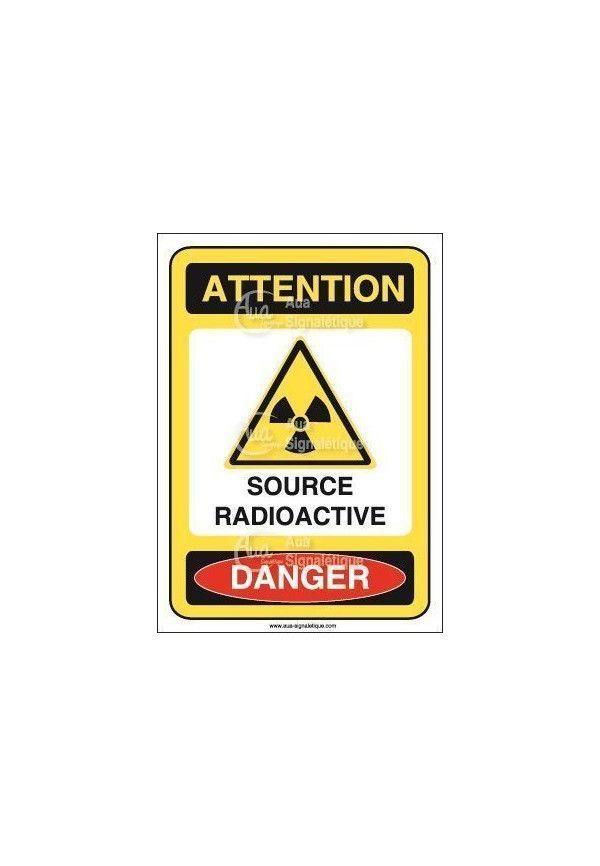Panneau source radioactive Vinyl adhésif 75x105 mm