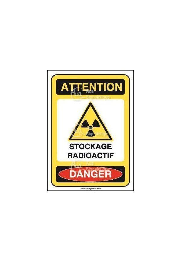 Panneau stockage radioactif Vinyl adhésif 75x105 mm