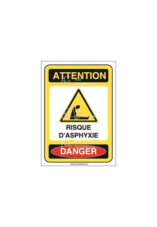Panneau risque d'asphyxie Vinyl adhésif 75x105 mm