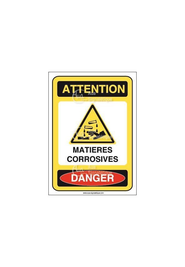 Panneau matières corrosives vertical Vinyl adhésif 75x105 mm