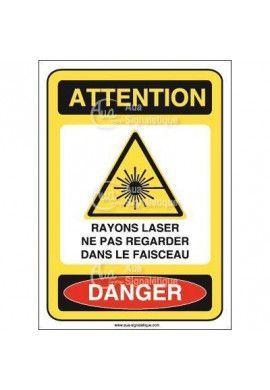 Panneau rayons laser ne pas regarder dans le faisceau Vinyl adhésif 75x105 mm