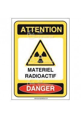 Panneau matériel radioactif Vinyl adhésif 75x105 mm