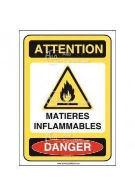 Panneau matières inflammables Vinyl adhésif 75x105 mm