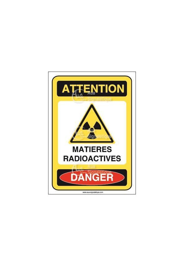 Panneau matières radioactives vertical Vinyl adhésif 75x105 mm