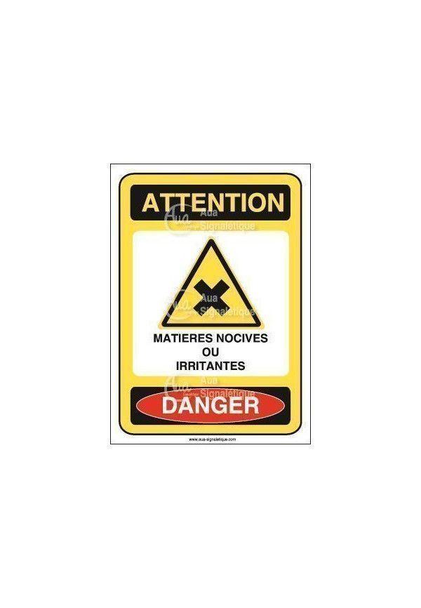 Panneau matières nocives ou irritantes Vinyl adhésif 75x105 mm